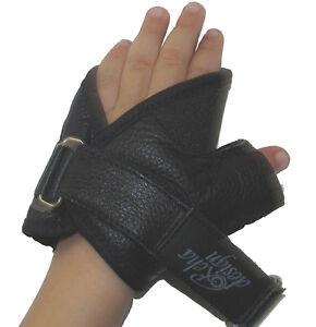 Wheelchair Gloves Childrens Leather UltraGrip Gloves Easy Open Strap N Roll
