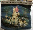 Vtg Oakhurst jacquard tapestry fabric  panel fox hunt dog horse equestrian art