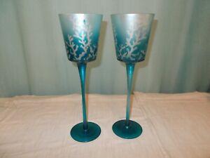 "Long Stem Aqua Candle Holders 12""   Pair  Coral Design"