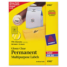 """Avery Round Glossy Clear Permanent Labels Laser/Inkjet 1 2/3"""" dia 500/Pack 6582"""
