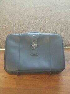 Vintage American Tourist Navy Blue Leather Suitcase