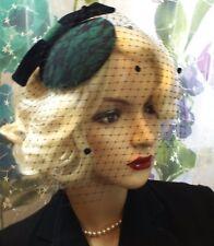 Chapeau Jules Handmade Green Velvet Black Lace Velvet Bow Veil Hat Wedding Ascot