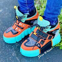 Anthony Wang CRANBERRY-09 Teal Blue Orange Color Block Hidden Wedge Sneaker
