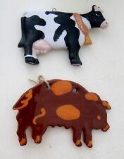 -Pennsylvania Redware Cow Ornament + Other Black & White Cow