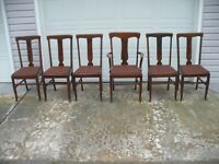 Set of 7 Used Antique Gardner Chair Co. Oak Dining Room Chairs Gardner Mass