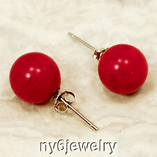 Natural Red Coral Sterling Silver Stud Earring(ER91)