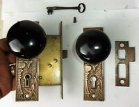 Antique Victorian EASTLAKE Backplate Black Porcelain Door Knob Mortise Lock Key