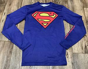 Under Armour Alter Ego Compression Shirt Superman Medium Long Sleeved VGUC