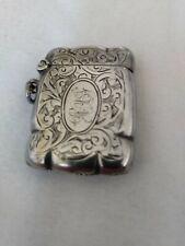 Antique Edwardian solid silver vesta case hallmarked Birmingham 1908