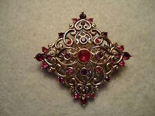 Vintage Liz Claiborne Filigree Pink Red Rhinestone Maltese Coss Brooch Pin