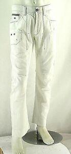 Pantaloni Uomo Jeans ENERGIE Misto Lino B790 Gamba Dritta Bianco Tg 33