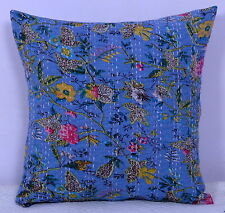 Indian Cushion Case Kantha Stitch Floral Print Home Décor Blue Pillow Cover 16""
