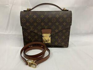Auth Louis Vuitton Monogram Monceau Handbag Shoulder Bag Brown M51185 - AUC0032