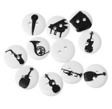 "Lot of 10 MUSICAL INSTRUMENT 2-hole White Buttons 5/8"" (15mm) Scrapbook (1105)"