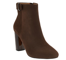 G.I.L.I. Leather Block Heel Ankle Boots Women's Kallie Chocco Brown Size 6 New