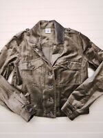 Women's Cabi Brown tan velvet blazer button front jacket size XS x-small W04
