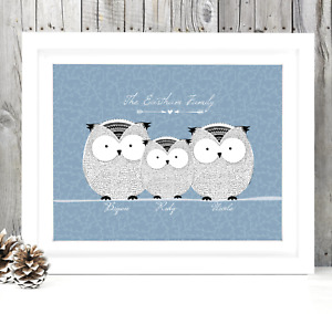 Personalised OWLS Family Tree Picture. BUILD YOUR OWN Family Christmas Gift!