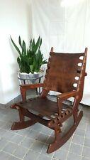 Kult: Großer Vintage Schaukelstuhl Rockingchair Leather Leder Angel I. Pazmino!