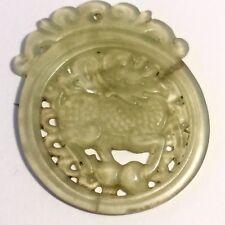 Chine Rare Très Ancien Médaillon En Jade  Sculpté Ajouré Décor De Dragon