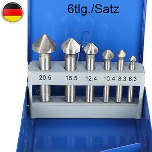 6-Tlg. Kegelsenker-Satz HSS Senkbohrer Entgrater, Ansenker Senker 90° Bohrer Set