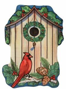 Toland Skyscape House Garden Flag Winter Birdhouse 32x42 Christmas Cardinal BIG!