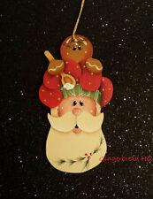 HP Hand painted Gingerbread and Santa wooden christmas orrnament. crafts, Chef