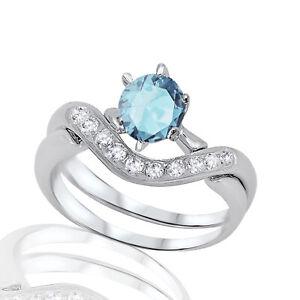 Aquamarine Round Infinity Celtic Engagement Wedding Silver Ring Set