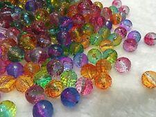 Random Multi-Colour Ombré Plastic Loose Beads Spacer Approx 10mm, 50pcs DIY