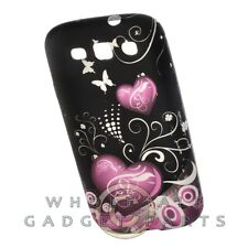 Samsung Galaxy S 3 Candy Skin Soft Pink Hearts on Black Case Cover Shield Shell