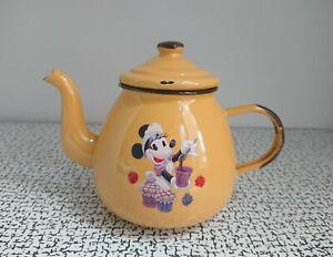70s 80s Vintage Retro Yellow Enamel Disney Land Paris Minnie Mouse Teapot Poland
