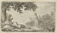 CHODOWIECKI (1726-1801). Die ländliche Ruhe bei Sonnenuntergang; Druckgraphik 1