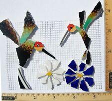 Two Hummingbird & Flowers Mosaic Tile Set Broken Cut China Plate Tiles