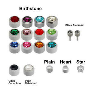 100% Genuine Caflon Blu Stud CZ Shape Stainless Steel Ear Piercing Earrings