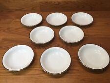 "8 Vtg. Noritake 5594 SILVERDALE 5 1/2"" Dessert Bowls White w/Platinum Trim"