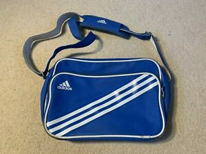 Adidas Enamel shoulder messenger bag in blue/white