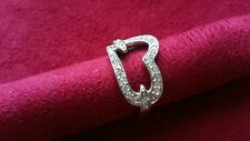 Beautiful Sparkling Big Heart White CZs Ring Sterling Silver *Size 7 3/4 *H096