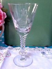 RARE Air Twist Stem Crystal Goblet Charles Diana Patrick McMahon Engraving Glass
