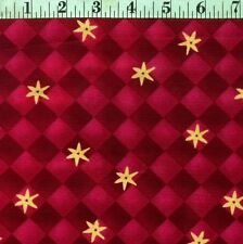 "NEW Red Argyle Flowers 100% cotton 55/56"" wide Designer fabric by the yard (36"")"