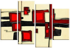 Large Red Cream Abstract Square Canvas Picture Split Multi 4 panel rdy 2hang
