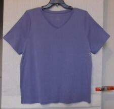 CJ Banks Size 3X Heather Purple knit top, V NECK, short sleeves   NWT