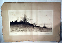 "20"" Antique Etching Signed E.L. Field Old Cottage And Sailboats Seascape"