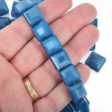 VTG 360 BLUE LINED CLEAR MATTE SQUARE GLASS SPACER BEADS CZECH #013118q