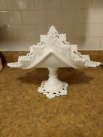 Vintage Westmoreland Ring & Petal  White Milk Glass Pedestal Folded.