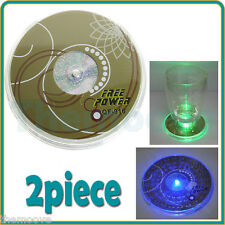 2X LED Coaster Color Change Light Drink Cup Mat Tableware Glow Christmas Party
