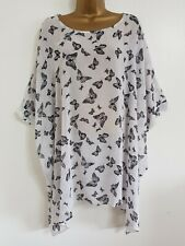 NEW Evans Plus Size 16-32 Black & White Butterfly Print Batwing Tunic Top Blouse