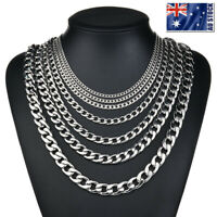 2-13mm Men's 316L Stainless Steel Silver Curb Link NK Necklace Chain Wholesale