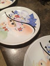"""3 RARE MADE IN CHINA LARGE PLATES 10.5""""  LADY PAINTING china"""