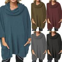 Plus Size Womens Baggy Long Sleeve Tops Cowl Neck Casual Pullover Sweater Shirts