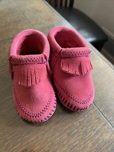 Infant, Minnetonka Moccasins, Size 3, Pink Suede/ Purple Stitching-