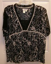 Coldwater Creek 2 Piece Black / White Crinkle Top with Tank XL New